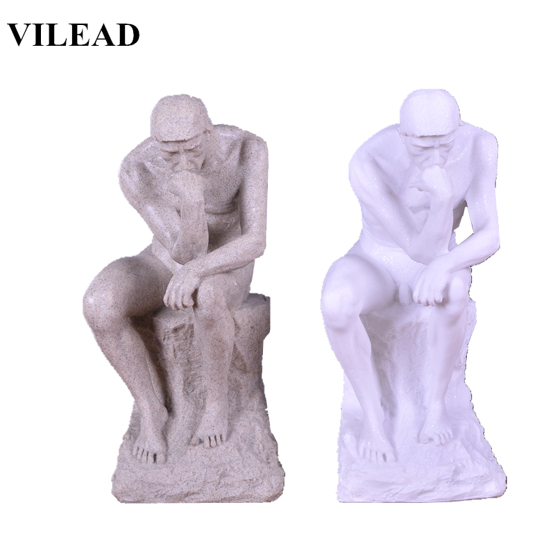 VILEAD 10.6'' Stone Thinker Statue Modern Meditator FigurineS Creative Miniatures Gift Living Room Home Decoration Accessories