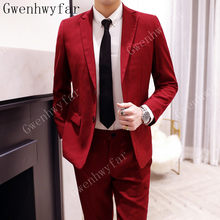 Fashion Groom Tuxedos Thin Suits Spring Summer Groomsmen Mens Wedding Dress Popular Man Jacket Blazer Suits (Jacket+Pants)(China)