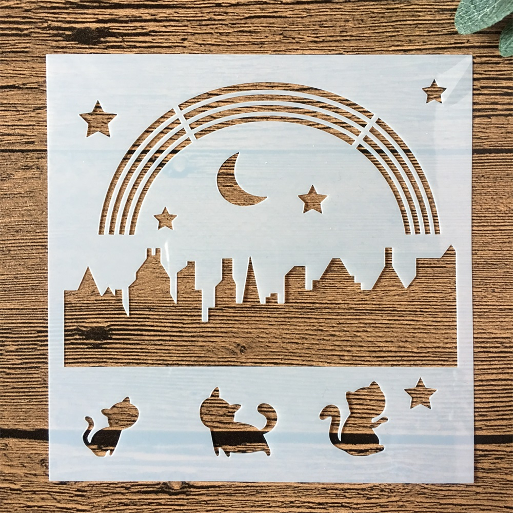 New 13cm Pastoral Farm Rainbow DIY Layering Stencils Painting Scrapbook Coloring Embossing Album Decorative Card Template