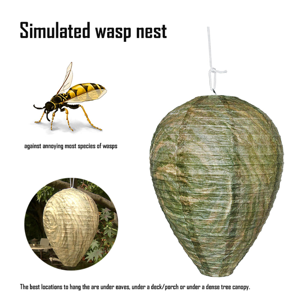Wasp Bee Trap Fly Insect Simulated Wasp Nest Effective Safe Non-Toxic Hanging Wasp Deterrent For Wasps Hornets Yellowjackets