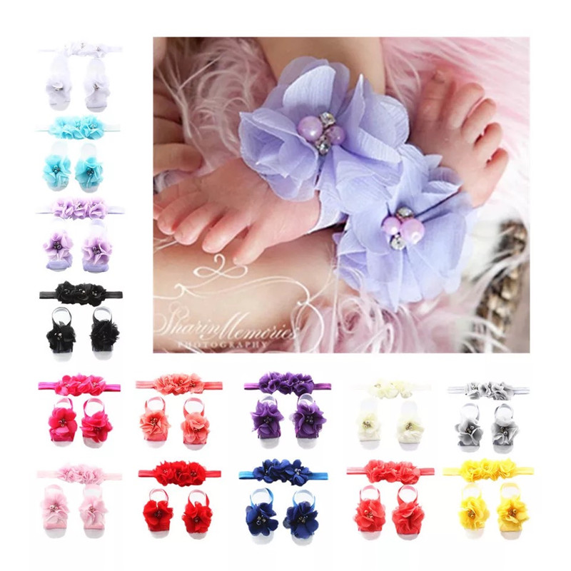 MIXIU New Fashion Newborn Baby Flower Headband Barefoot Sandal Sets Satin Chiffon Fower Hair Accessories Baby Photography Props