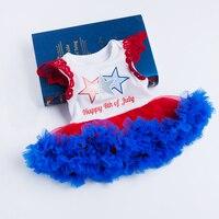 Yk & loving American 4th DE JULIO bebé Niñas vestido del tutú del mameluco recién nacido del algodón bordado alas colmena manga
