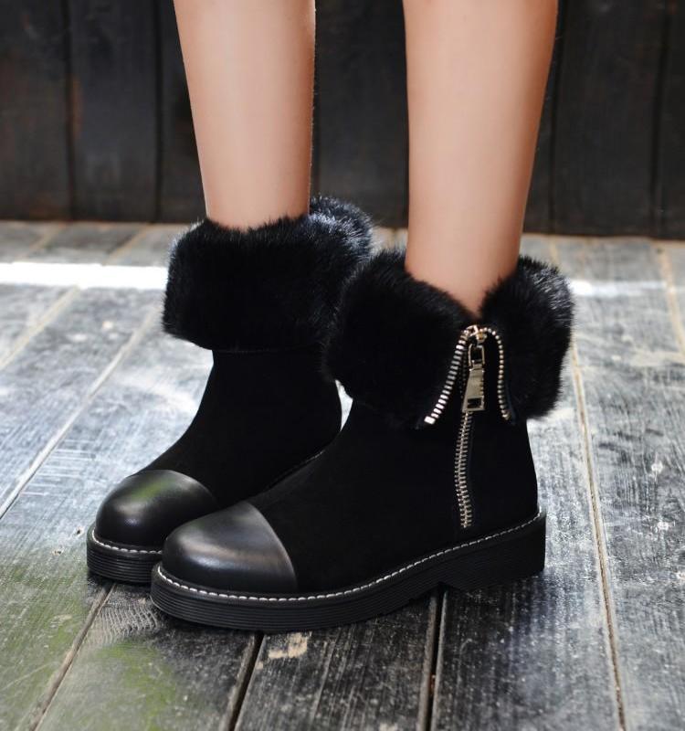 Daim Hiver Cuir Doublure Tombé Longue Chaussures Patchwork En Pour Noir Glissière Femme Zapatos Peluche Bord Latérale Bottines SMGjqVLUzp