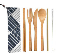 Bamboo Cutlery Set Straw Chopsticks Fork Spoon Knife Portable Wooden Tableware Travel Kitchen Camping