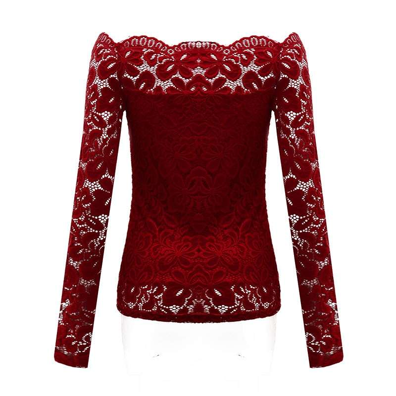 HTB1gEe4LpXXXXaRXXXXq6xXFXXXh - Autumn Sexy Women Blouses Off Shoulder Lace Crochet Shirts