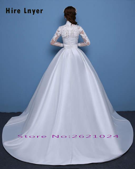 placeholder Najowpjg Custom Made Vestido Novia High Neck Long Sleeve  Appliques Satin Ball Gown Wedding Dress Plus 886f40700b01