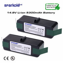 Sparkole 2pcsx 5300mAh 14.8V Lithium Rechargeable Battery for iRobot Roomba 550 560 620 650 760 770 780 870 880 500 600 700 800(China)