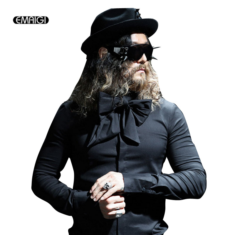 Men Bow Tie Leaf Collar Long Sleeve Shirts Male Fashion Casual Loose Gothic Style Dress Shirts