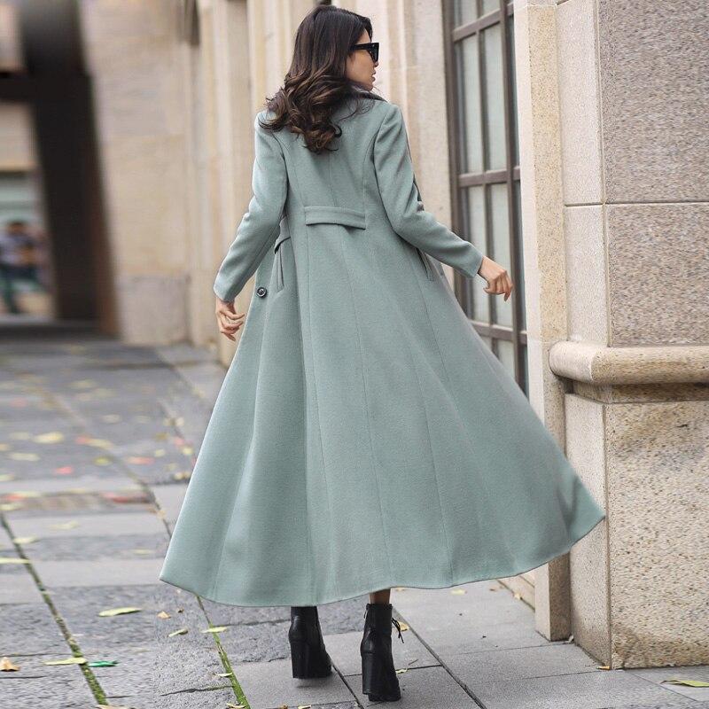 Dames Nouvelle Long 2017 Laine Tranchée Costume Col Manches Longue D'hiver Plus Veste Bleu Extra Mince Femmes Taille De Manteaux Survêtement Td6Rdnxra