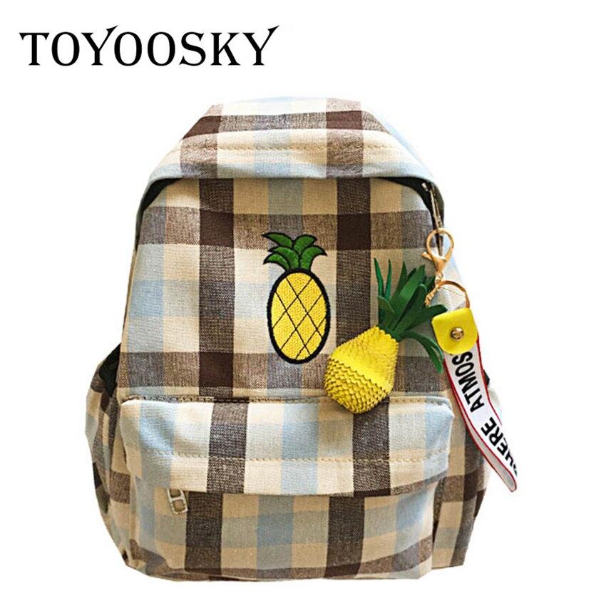 TOYOOSKY Women Backpacks For Teenage Girls Canvas Backpack Female Striped Embroidery Pineapple School Bagpack Mochila Feminine