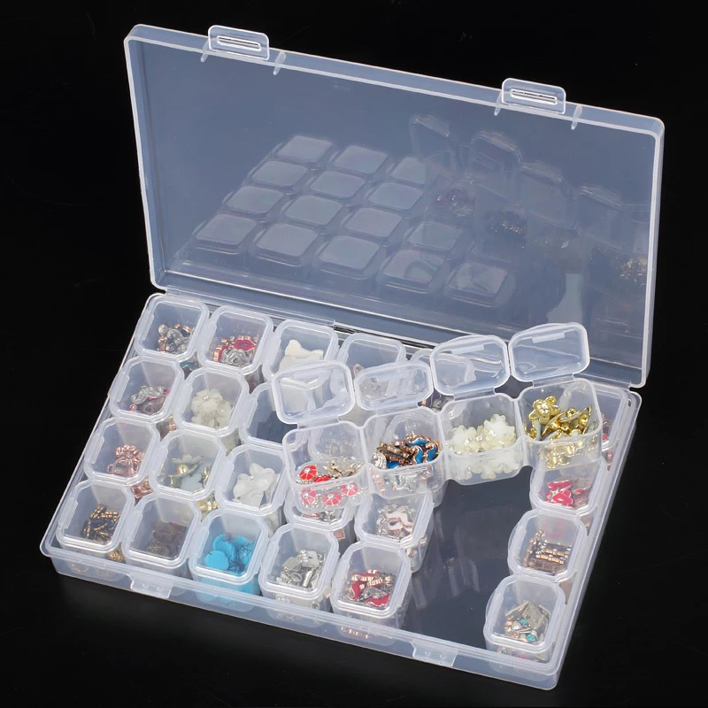 28Lattices accesorios de bordado y diamantes desmontables cajas de pintura de diamantes estuches para punto de cruz organizador de almacenamiento Almacenamiento en casa