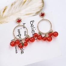 Neue Luxus Schmuck Shiny Strass Runde Kreis Liebe Herz Ohrring Rot Kristall Kirsche Anhänger Ohrringe für Frauen EC746