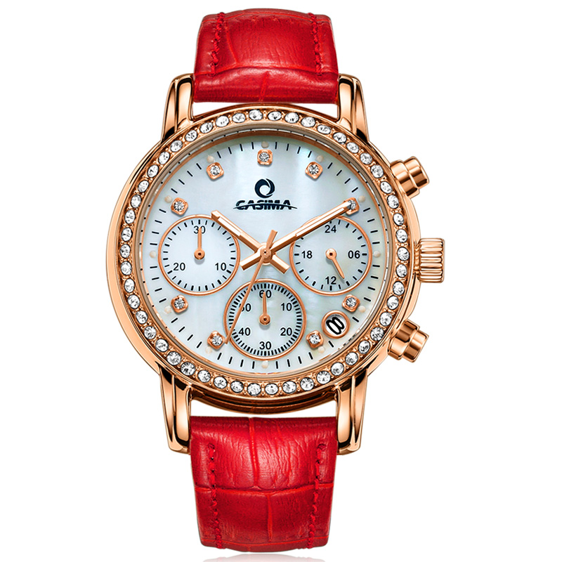 Fashion Luxury brand watches women Elegant leisure gold crystal women's chronograph quartz wrist watch waterproof CASIMA #1010 fashion luxury brand watches women elegent leisure gold crystal women s quartz wrist watch red leather waterproof casima 2603