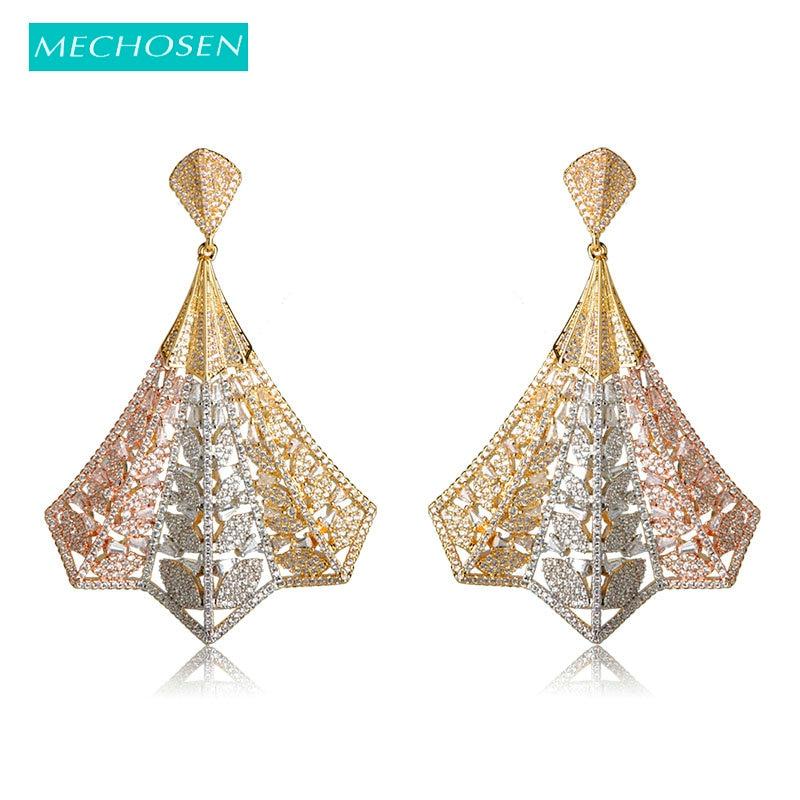 Boucles d'oreilles en zircon cubique à réglage Mirco complet, couleur or, cuivre, Brincos Naija, boucles d'oreilles de mariage, bijoux pour femmes
