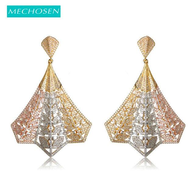 MECHOSEN Full Mirco Setting Cubic Zirconia Dangle Earrings Gold Color  Copper Brincos Naija Wedding Earring Fashion c8e02aab5a49