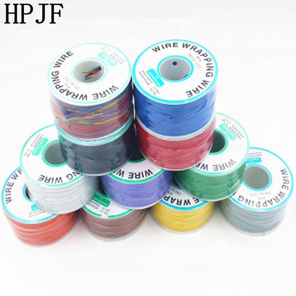 250meter Multicolor 8colors 30AWG Electrical Wrapping Wire Flying Jumper Cable OK Wire For Laptop Motherboard PCB Connect Weldin 1pcs ok line 0 5mm 30awg wire wrapping wrap flexible insulation tin plated jumper cable 1000ft pcb flying jumper wire