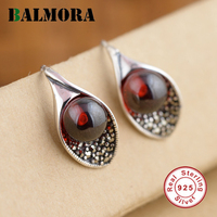BALMORA 100 Real Pure 925 Sterling Silver Drop Earrings For Women Lover Luxury Red Zircon Party