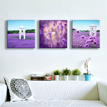 3 Pieces Canvas Painting Art of Landscape Home Decoration Violet Lavender Modular Scenery Picture No Framed