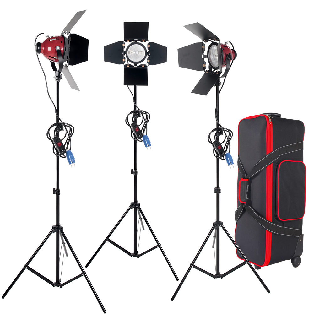 цены ASHANKS 3KITS 800W Spotlight with Dimmer Switch & Studio Video Red head Light kits + Bulb + Carry bag For Video Fotografica