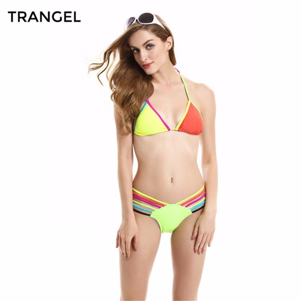 2016 women Bright Neon Bikini Block Color Halter swimsuit beachwear Swimwear Bikini set Top and Bottom