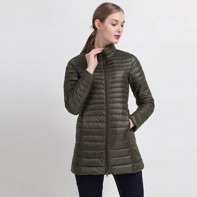 90% белый утиный пух пальто ультра светильник тонкий длинный пуховик портативное Женское зимнее пальто размера плюс Chaquetas Mujer - Цвет: Army green