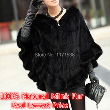 New Genuine Knitted Mink Fur Shawl Elegant Ruffles With Hood Poncho Winter Women Natural Mink Fur Jacket Lady's Real Fur Coats