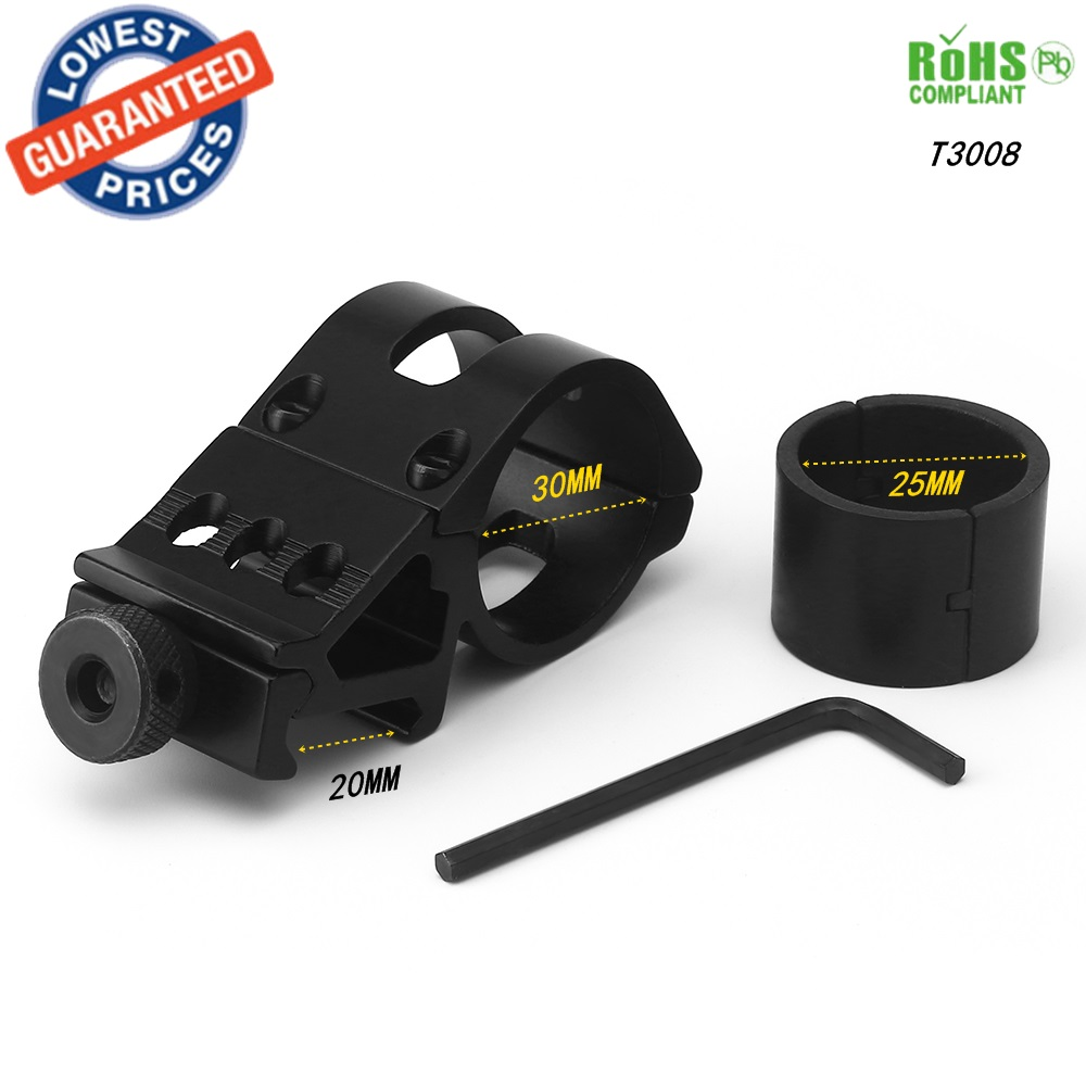 AloneFire T3008 30mm 반지 전술 스코프 시력 손전등 레이저 마운트 20mm 표준 Picatinny 위버 레일 스코프 링 어댑터