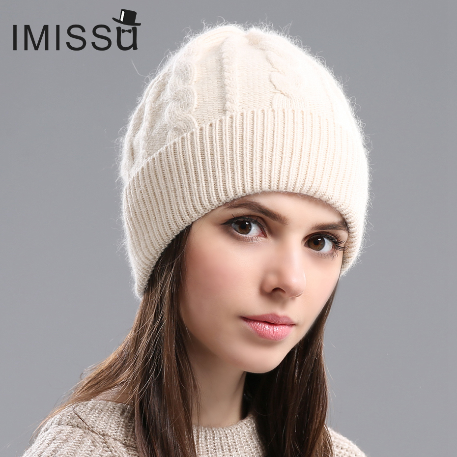 IMISSU  2017Spring  Autumn & Winter Beanies Women's Hats Knitted Wool Casual Cap Solid Colors  Design Fashionable Girls'hats