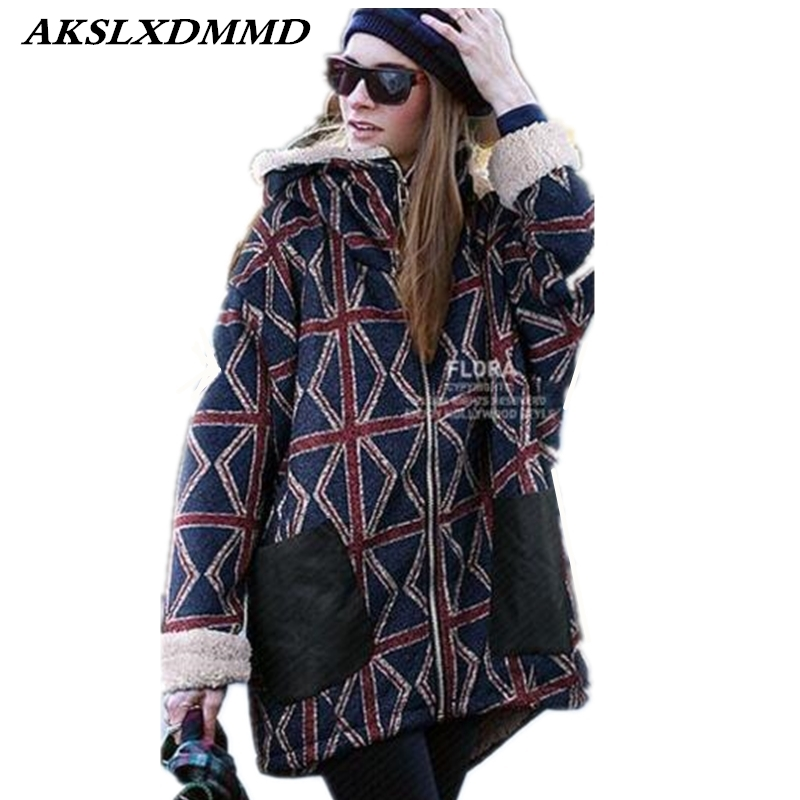 2019 New Hot Europe Hooded Loose Large Size Long Coat Thick Warm Winter Jacket Fashion Personality Women   Parka   Cotton Coat CW093