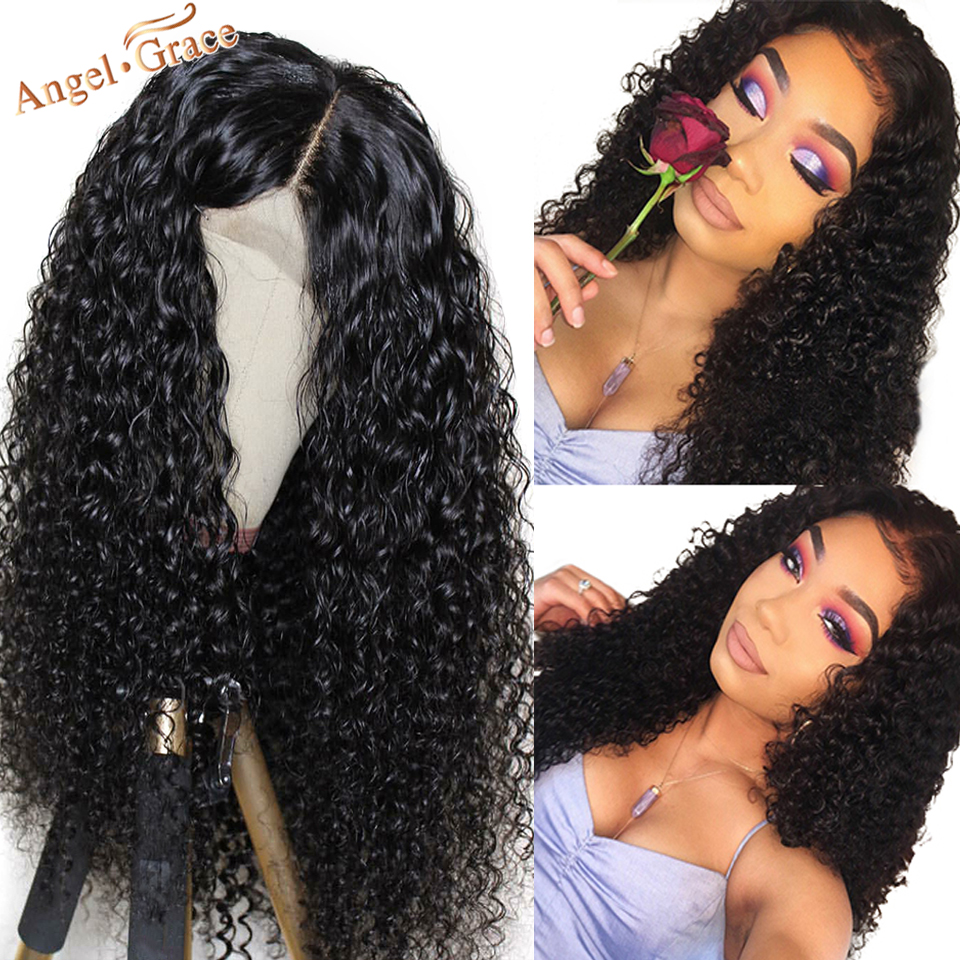 Angel Grace Hair Malaysian Deep Weave Human Hair Wigs 13x4 Lace Front Wig 150% 180% Density Remy Human Hair Pre Plcuked