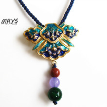 Blue Green Geometric Flower Ethnic Cloisonne Enamel Natural Stone Fashion Jewelry Choker Necklace For Women Girl Chistmas Trendy