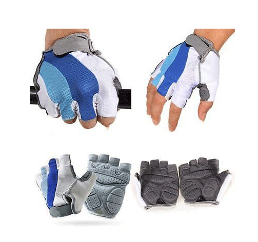 Bike Cycling Gloves Men's Motorcycle Gel Silicone Half Finger Fingerless Bicycle Gloves L-M-XL Size CG0303 outdoor cycling half finger protective fiber gloves yellow black grey pair xl size