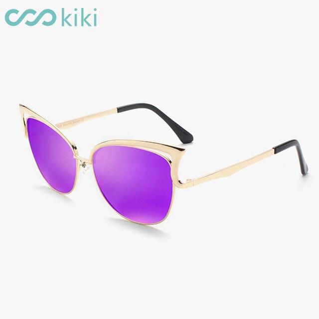 f8e510aeb6 KIKI Women Sunglasses Polarized Retro Cat Eye Metal Driving Purple Sun  Glasses Brand Designer UV400 oculos de sol feminino