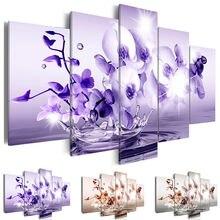 Pintura da lona Arte Da Parede Home Decor 5 peças Colorido Moth Orchid Pictures Para Sala Modular Estampas de Flores Cartaz Emoldurado