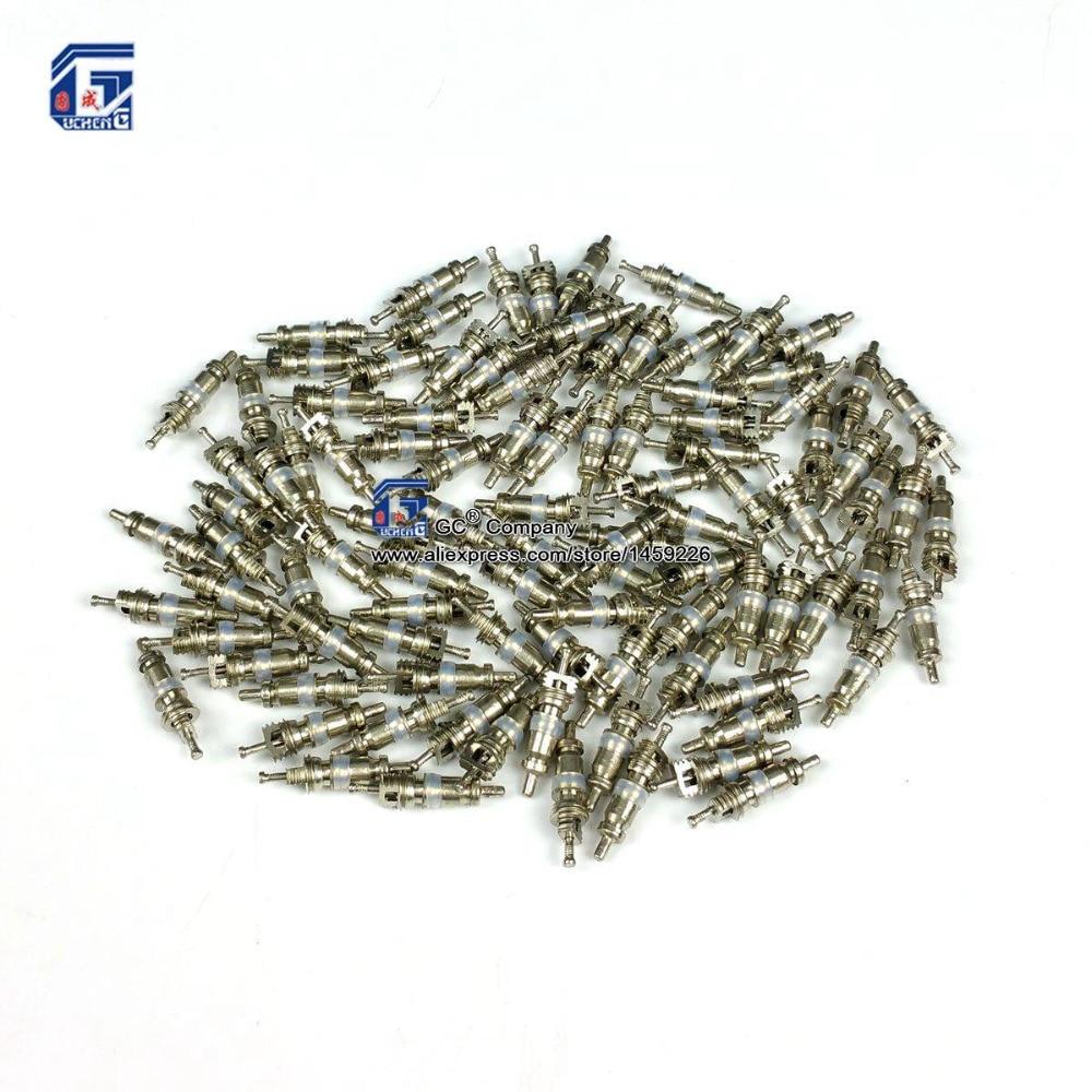 100 Uds., núcleo de válvula Schrader para aire acondicionado automático/neumático de bicicleta/reemplazo HVAC