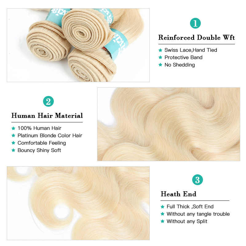 Monstar 1/3/4 613 Blonde Hair Extensions Braziliaanse Hair Weave Bundels Body Wave Remy Human Hair 22 24 26 28 30 32 34 36 Inch