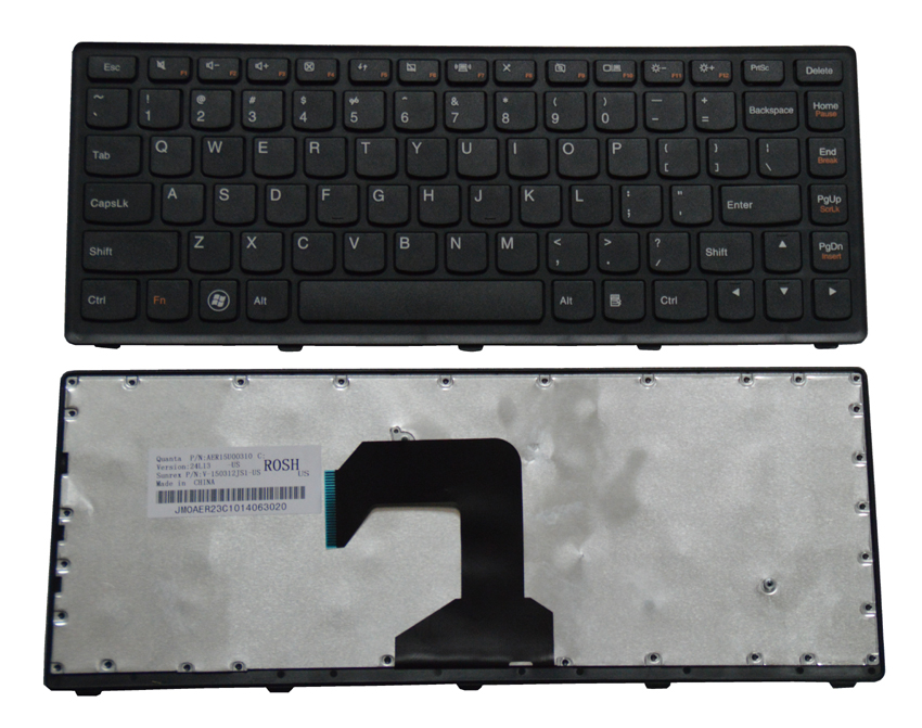 US Laptop Keyboard with Frame for Lenovo IdeaPad S300 S400 S400T S400u S405 series black KB