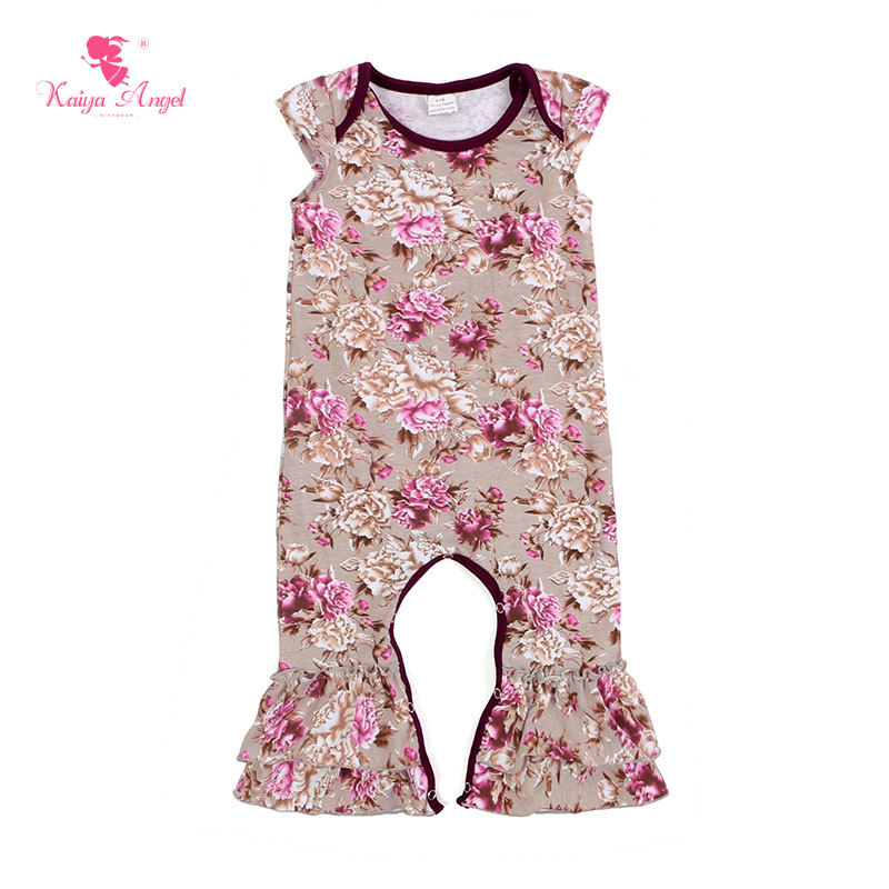 2018 Hot Newborn Baby Jumpsuit Girls Boys Clothes wholesale Floral Print Romper Outfit Kaiya Angel Summer Fall Jumpsuits Cotton