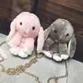 NUEVA moda de la muchacha encantadora dulce esponjoso Largas orejas liebre cadenas bolsa de mensajero bolso ocasional de las mujeres de conejo de peluche
