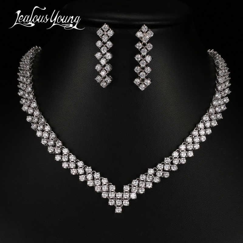 2017 Luxury AAA Cubic Zironia African Beads Jewelry Set White Gold Color Bridal Jewelry Sets for Women Wedding Jewellery AS054