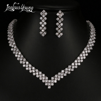 2017 Luxury AAA Cubic Zironia African Beads Jewelry Set White Gold Plated Bridal Jewelry Sets For