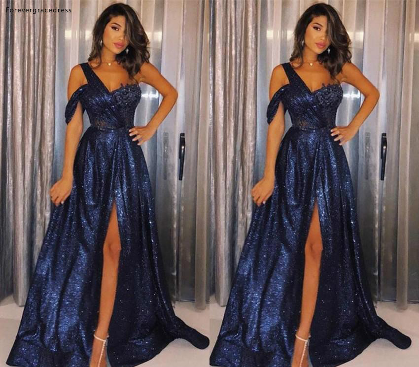 Sexy Blue Color   Prom     Dresses   2019 One Shoulder Sequined Split Holidays Graduation Wear Party Gowns Plus Size Custom Made