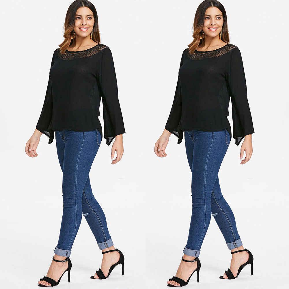 Женские повседневные Черные сплошные кружевные лоскутные горячие продажи с длинным рукавом женские свободные футболки Топы Плюс Размер s-xxl