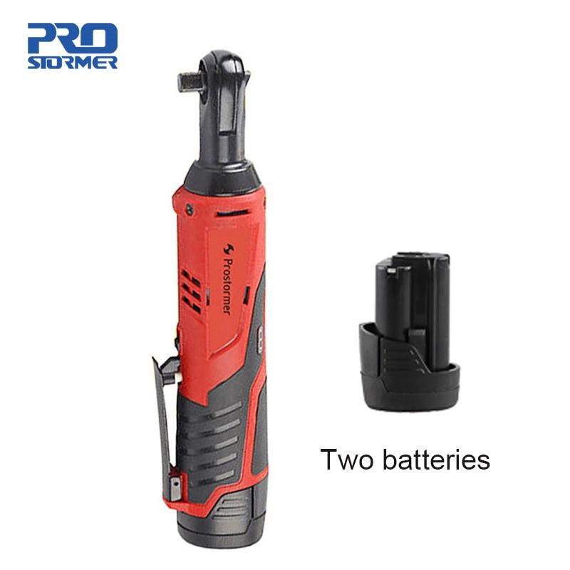 PROSTORMER 12 V Elettrico Ricaricabile Cordless chiave A Cricchetto con 2 Batterie Al Litio 90 gradi elettrico Portatile di riparazione chiave