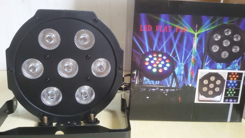 HOT 8pcs/lot 2017 7x 12W RGBW DMX Stage Lights Business Led Flat Par High Power Light with Professional for Party KTV Disco DJ 6 pcs lot led par 18x12w rgbw light dmx stage lights business lights professional flat par can for party ktv disco dj ligthing