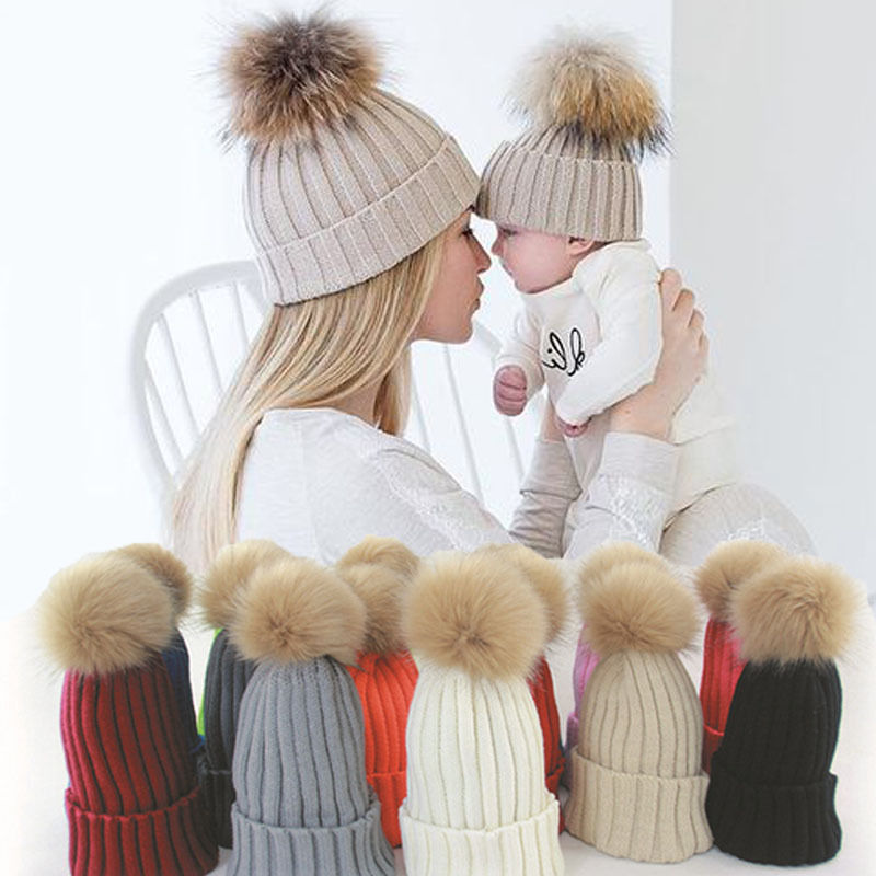 1 Pcs Mother And Child Baby Warm Winter Knit Beanie Fur Pom Hat Crochet Ski Cap Family Match Hats hot winter beanie knit crochet ski hat plicate baggy oversized slouch unisex cap