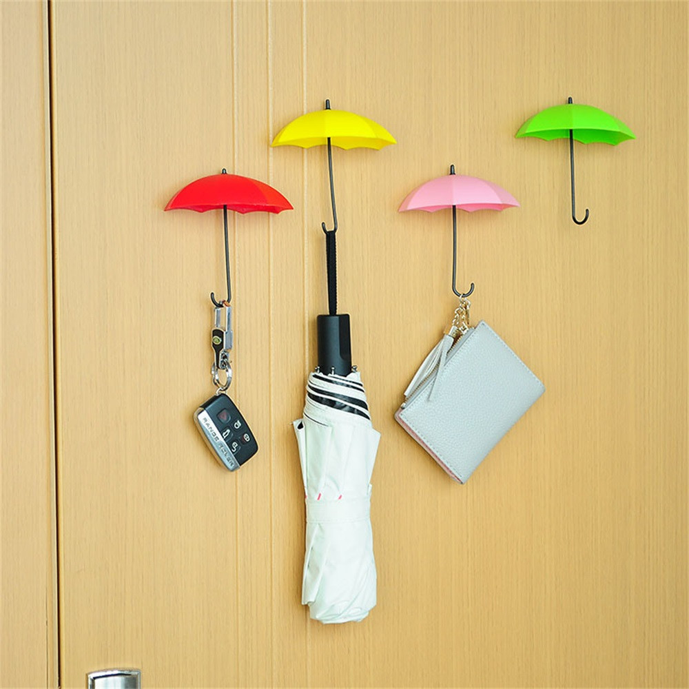 6Pcs/Set Umbrella Wall Hook Key Plastic Colorful Sticky Hair Pin ...