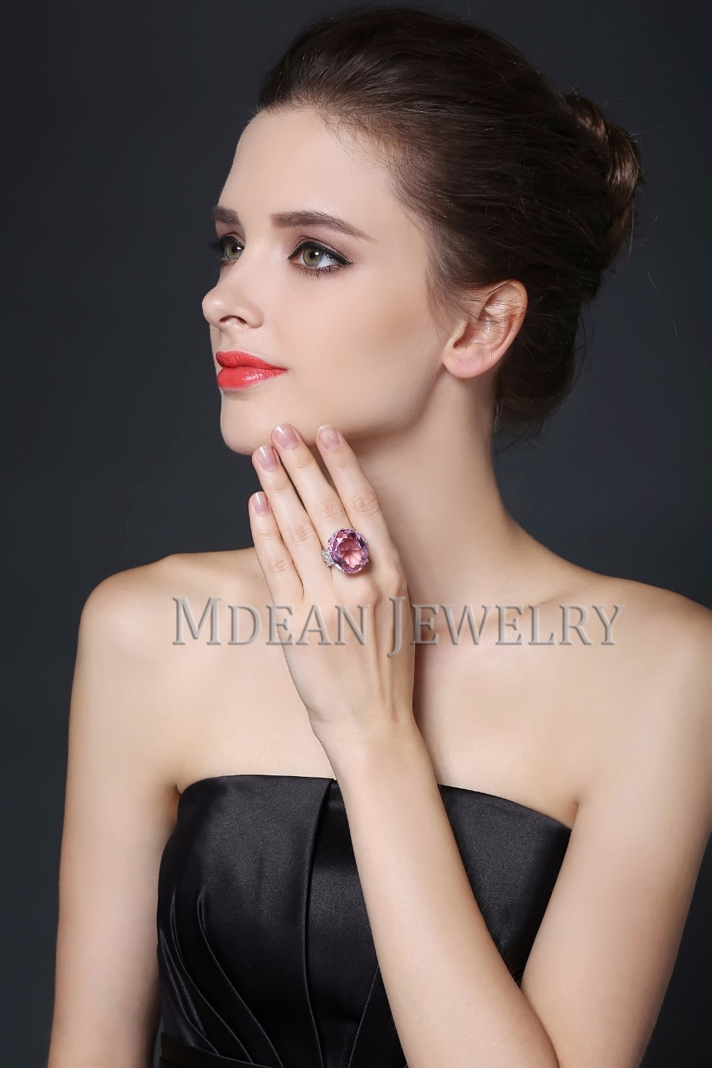 MDEAN Pink Stone White Gold Color Wedding Rings For Women Engagement Big AAA Zircon Jewelry Ring Fashion Bague MSR812 12