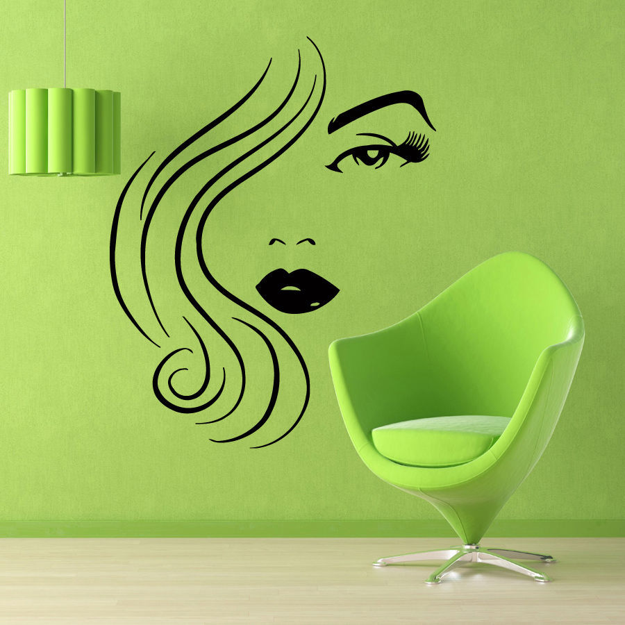 Beauty Salon Vinyl Wall Decal Sexy Girl Model Face Spa