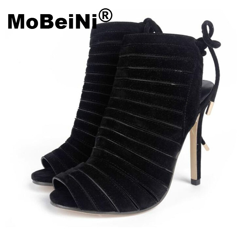 MoBeiNi Roman Gladiator Sandals Women High Heel Stiletto Strappy Open Toe Caged Sandals Pumps Woman Fetish Shoes Party Clubwear mobeini new fashion colored pompon straps with high heels sandals casual roman women s sandals summer woman gladiator sandals
